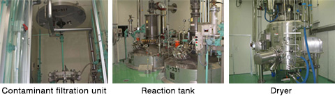left:Contaminant filtration unit center:Reaction tank right:Dryer